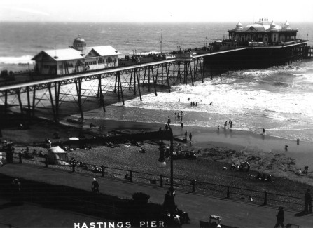 Hastings Pier with shooting gallery and pavilion
