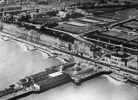 Aerial view of the Pier bandstand, 1930s