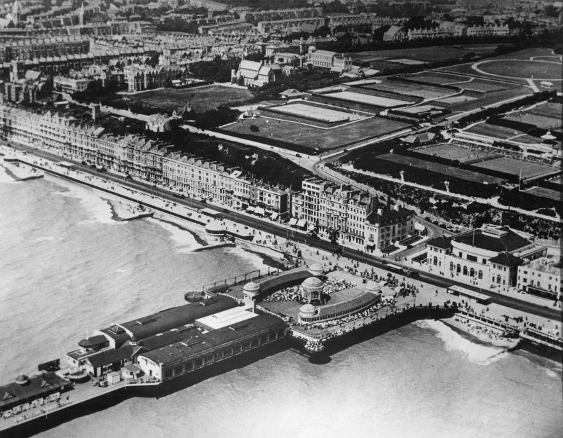 An aerial shot of the Pier with bandstand and White Rock area   East Sussex County Council Library & Information Service