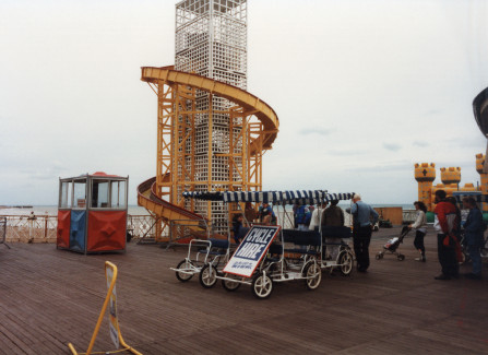 Cycle hire, helter skelter and bouncy castle on the Pier
