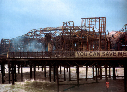Smoking ruins of the Pier after the 2010 fire