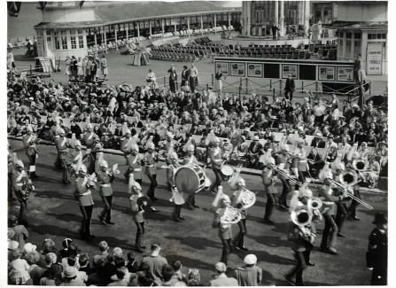 Royal Guards Marching Band in front of Hastings Pier