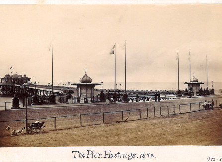 Goat carts outside Hastings Pier, 1872