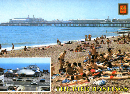 Sunbathing on the beach, with inset of the Triodome