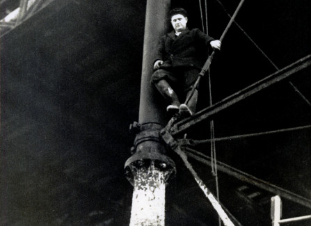 Pier engineer standing on the substructure, 1950s