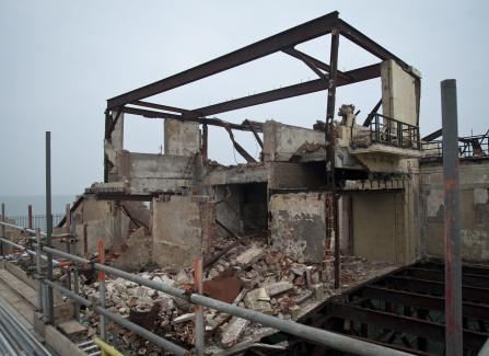 Burnt-out ballroom entrance after storm damage