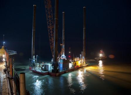 The Jack-Up Barge Leaving Hastings Pier