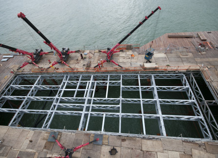 Aerial view of the new trusses to support the Pier Visitors Centre