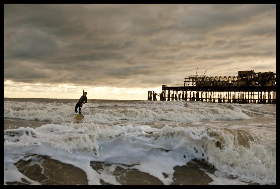 Richard Rapley surfing east of Hastings Pier, 23rd October 2010