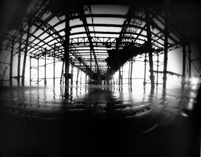 Underneath Hastings Pier after the fire