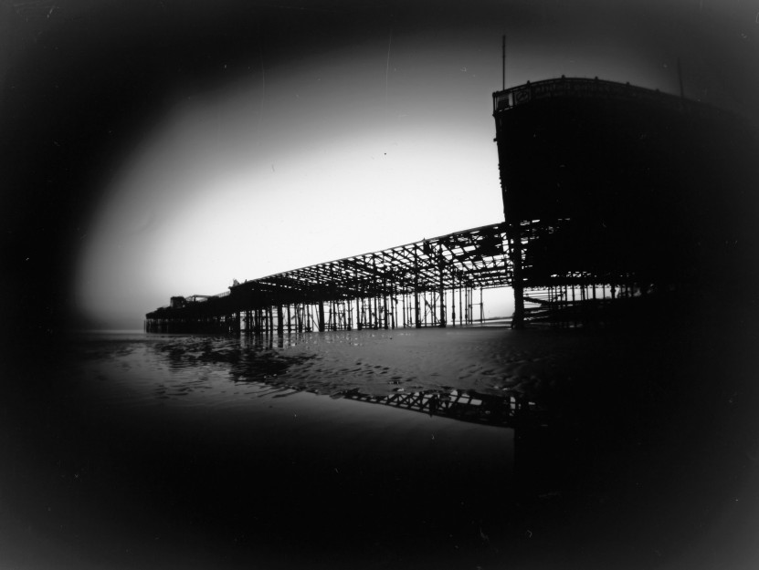 Pinhole photo of Hastings Pier in January 2011