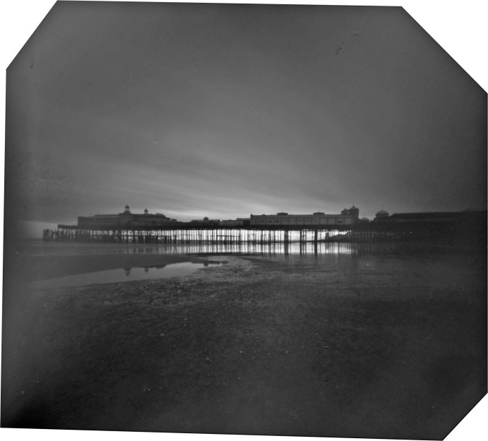 Pinhole photo of Hastings pier at dusk, before the fire. September 2010.
