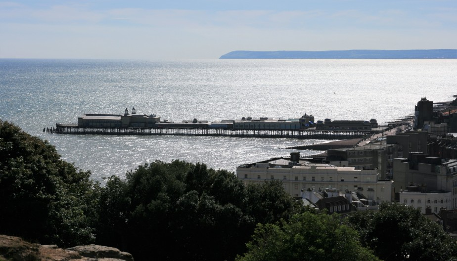 View of the pier from Hastings castle.