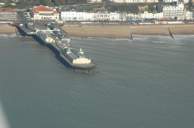 Hastings Pier from the air