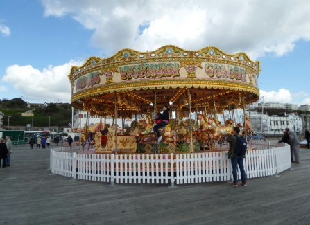 A traditional carousel on the opening day on the Pier