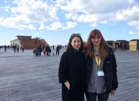 Bea Rapley and Jo Mclaughlan from Hastings Pier charity on the opening day on the Pier