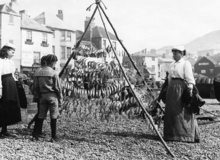Drying fish on the beach in Hastings.