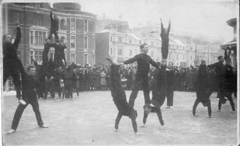 WW1 Canadian troops gymnastics display