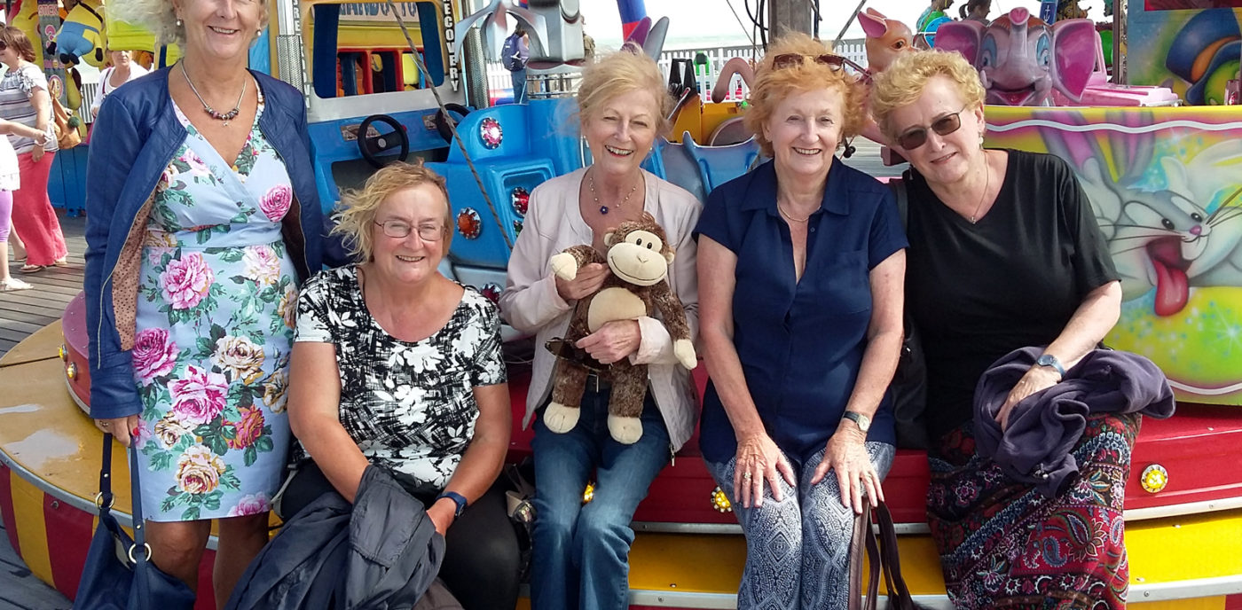 2016. The Burke sisters revisit the re-opened Hastings Pier with their own Monkey