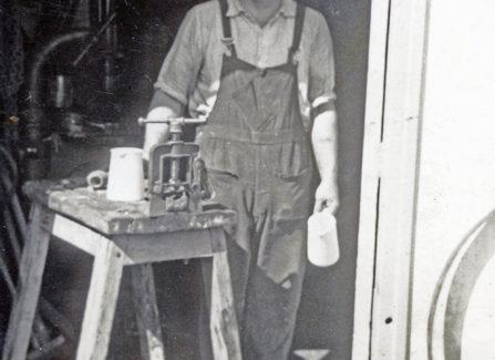 Jack Chabuda, Pier Engineer, in the Machine Shop, 1950s