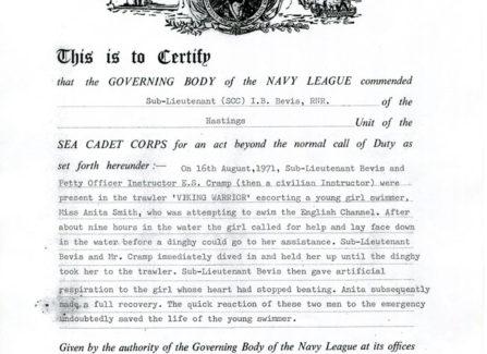 Commendation Certificate for Master Diver Ivor Bevis