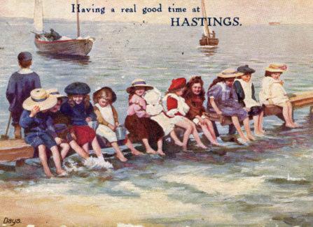Tuck Oilette postcard of children at Hastings