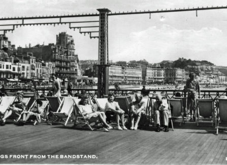 People relaxing on the Pier after it reopened after WWII