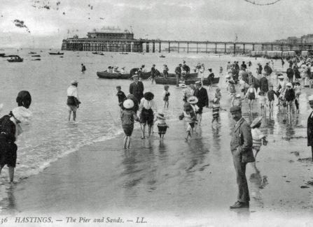 Paddling on Hastings Beach