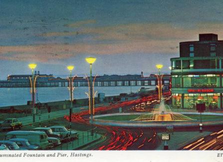 Illuminated Pelham roundabout Fountain and Pier, 1960's