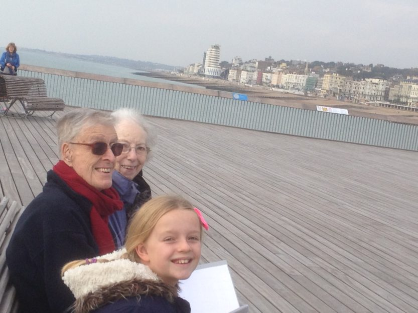 Ruby, Granny and Grandad on the Pier