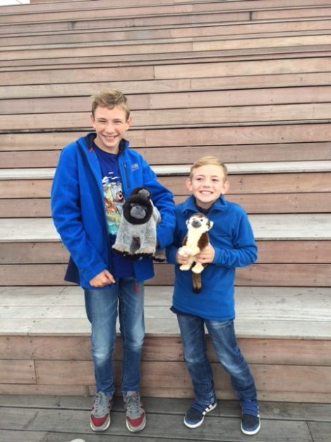 Lewis and Alfie with Monkey on steps to top deck