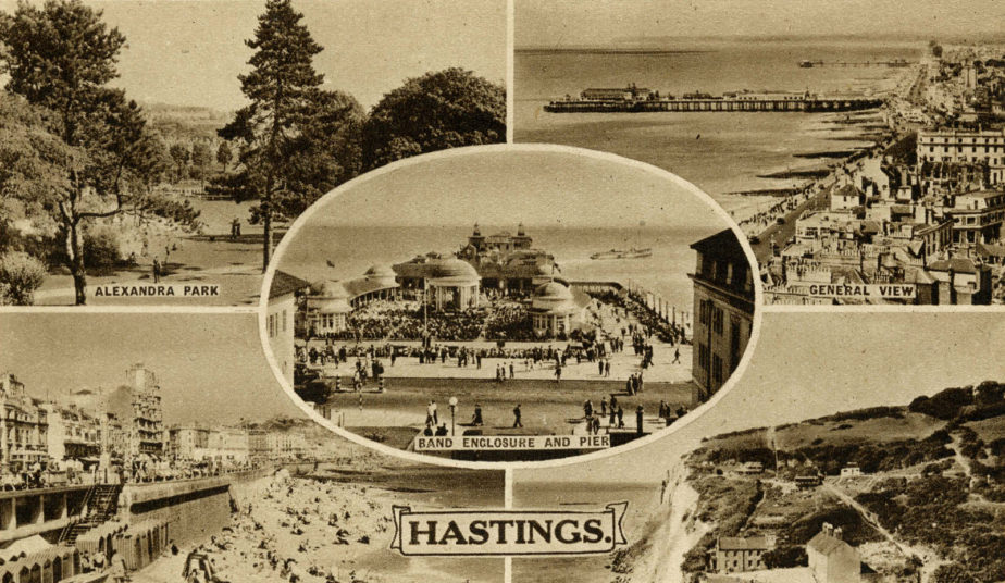 A multi-view postcard of Hastings, 1930s