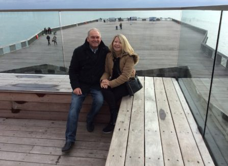 Shirley and Mark Jolly on top deck of pier