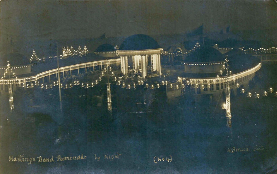 In 1925 a lighting gantry was erected round the Pier extension, and throughout the next decade night illuminations were very much part of the romance of the Pier.