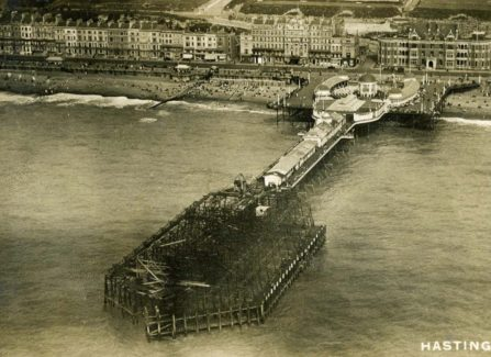 Aerial View of Hastings Pier after the 1917 Fire