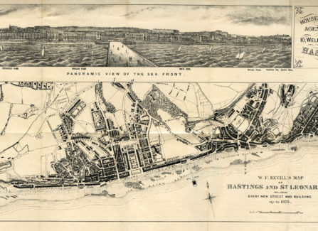 Panorama and Map of Hastings & St Leonards, 1875