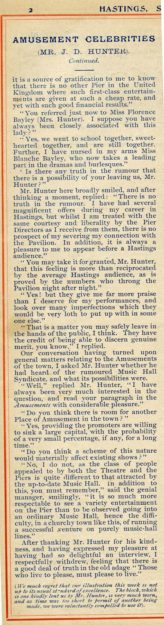 1896 Article about J D Hunter, Pier Entertainments Manager