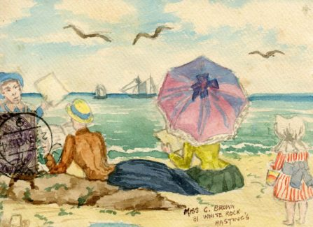 Hand Painted Hastings Seaside Postcard