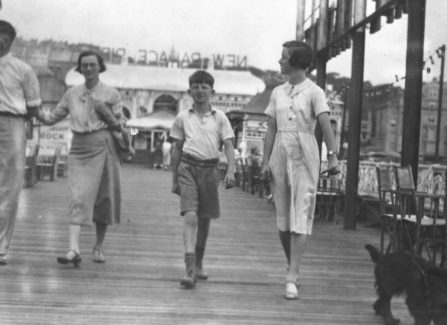 Family stroll on the New Palace Pier in the 1930s