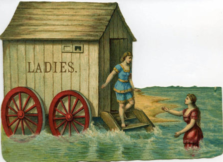 Coloured Bathing Postcard