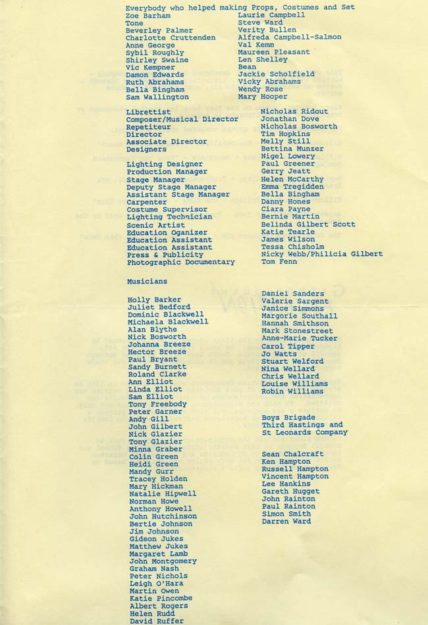 Programme for Opera on the Pier, 1990