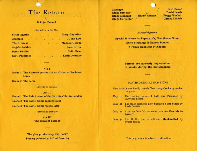 Programme for The Return, 26 April 1954