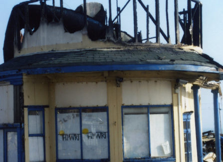 Remains of bandstand shelter after 2010 fire