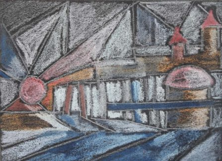 Chalk pastel in the style of Paul Klee