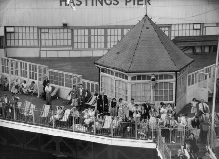 Tourists on the end of Hastings Pier