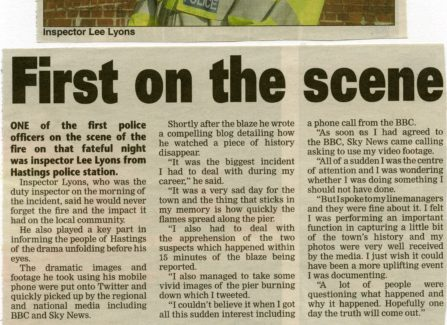 Hastings Pier fire, a newspaper report with police Inspector Lee Lyons