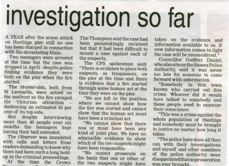 A newspaper report on the investigation into the fire on Hastings Pier