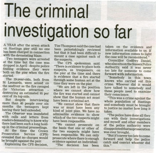 A newspaper report about the investigation into the fire on Hastings Pier