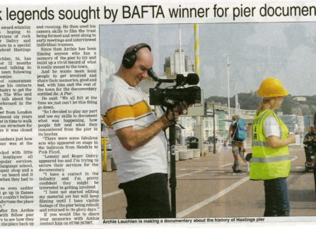 Newspaper report on the documentary, Re: A Pier, made by Archie Lauchlan