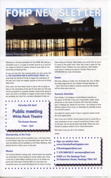 Newsletters published by Hastings Pier and White Rock Trust